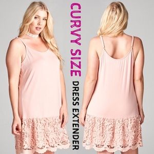 Plus Size Lace Dress Extender Slip Peach Pink Tank Boutique